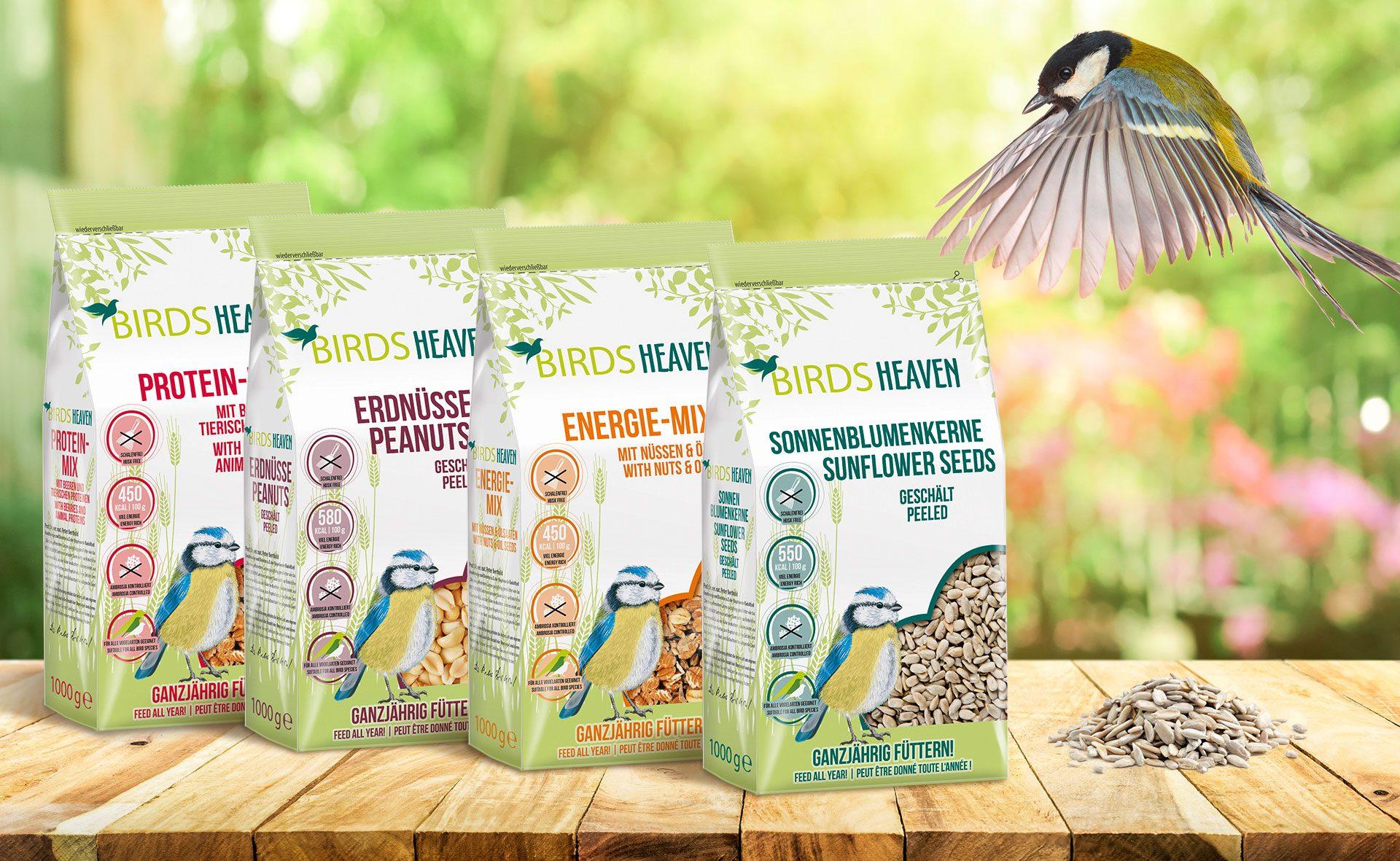 Verpackungsdesign Malvega: BirdsHeaven Vogelfutter