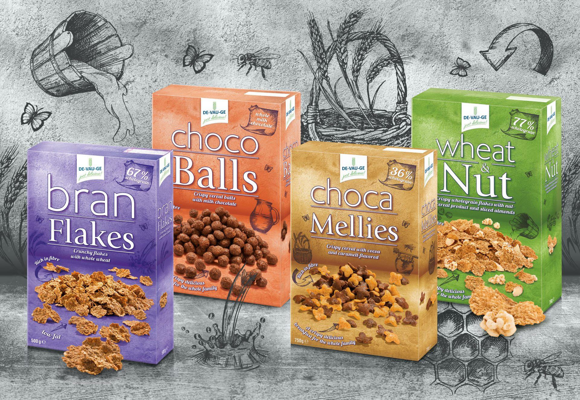 Verpackungsdesign Malvega: DeVauGe Range Cerealien