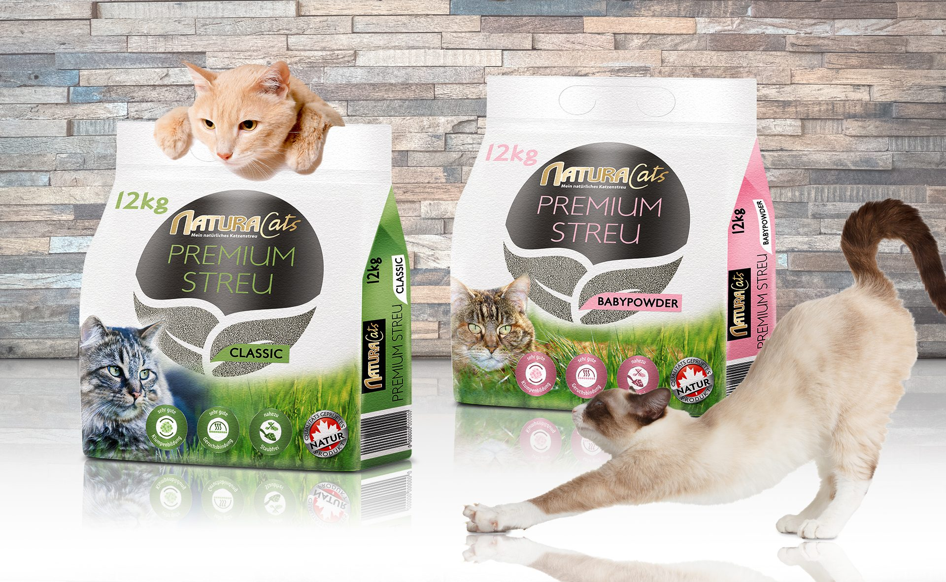 Verpackungsdesign Malvega - Referenz: Katzenstreu, Natura Cats