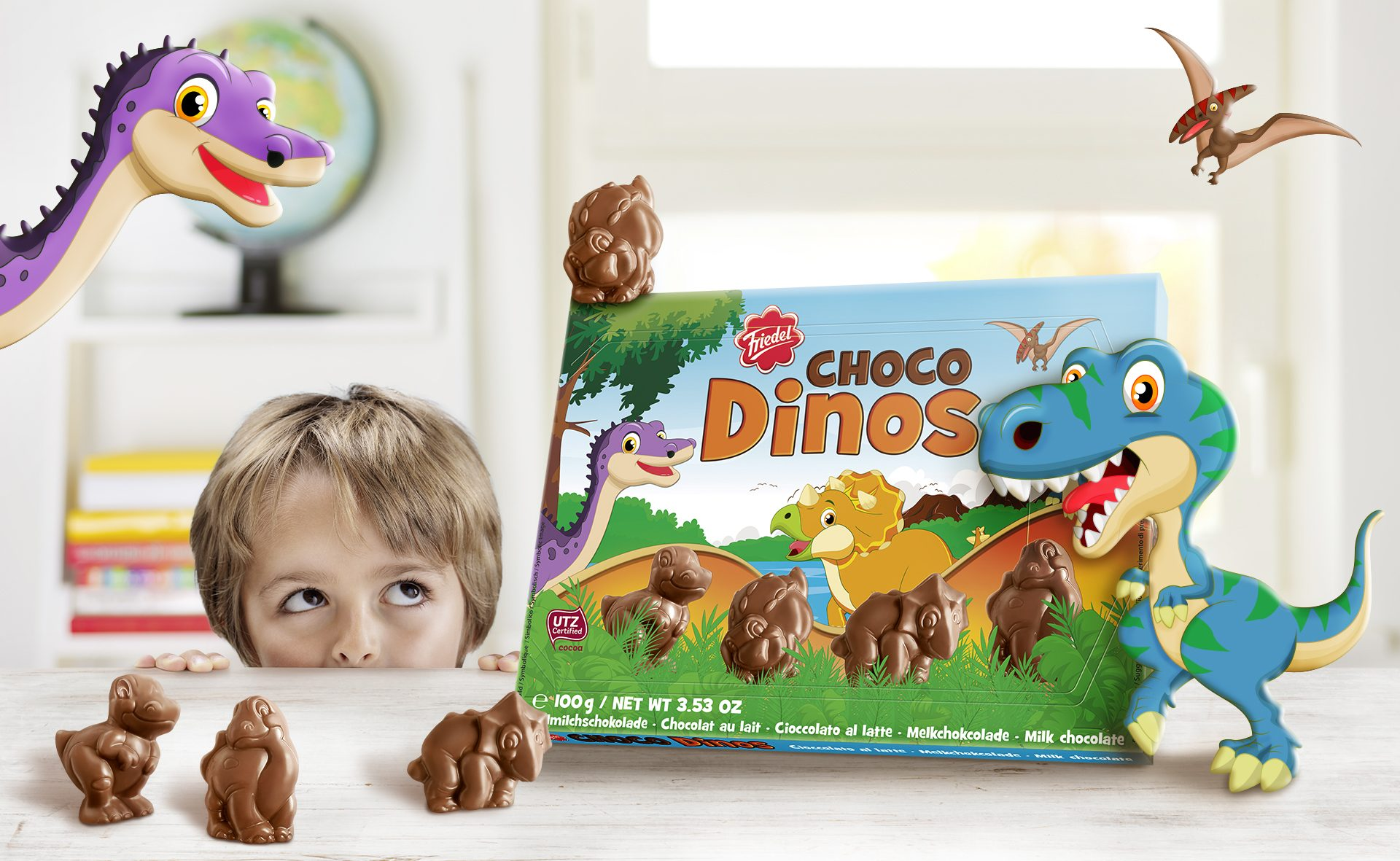 Verpackungsdesign Malvega - Referenz: Choco Dinos, Friedel