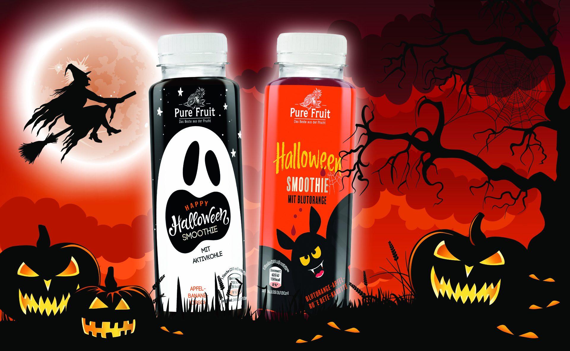 Verpackungsdesign Malvega - Referenz: Halloween Smoothie, Aldi Nord