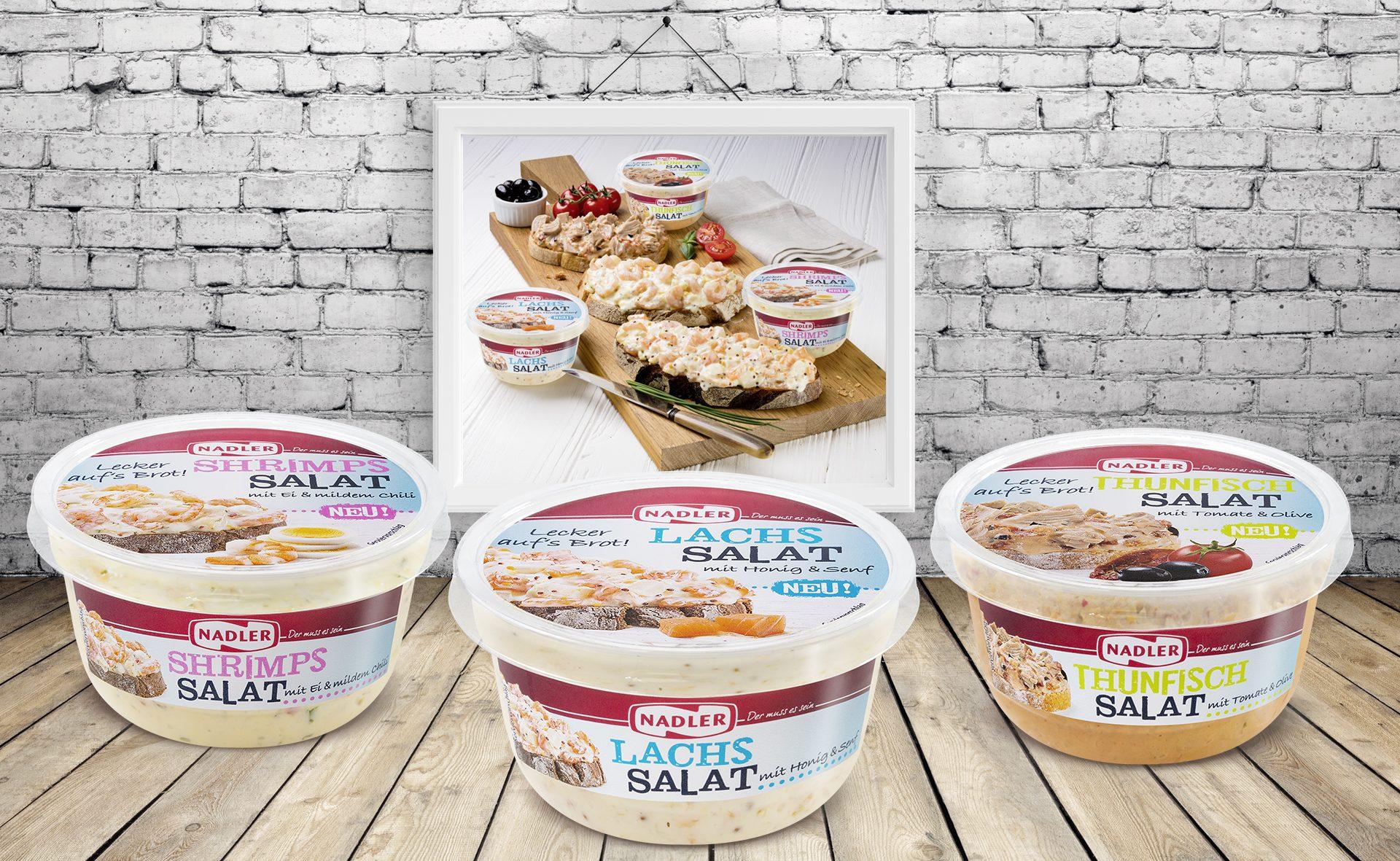 Verpackungsdesign Malvega - Referenz: Fischsalate, Nadler