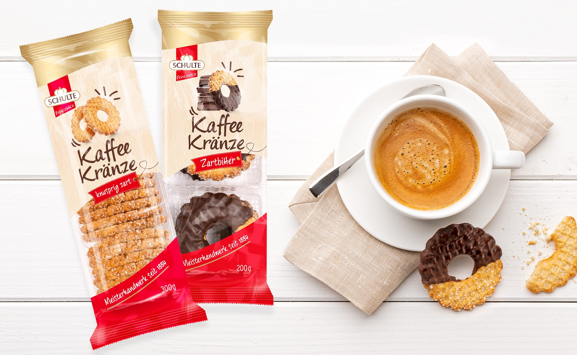 Verpackungsdesign Malvega - Referenz: Kaffee Kränze von Schulte Feingebäck