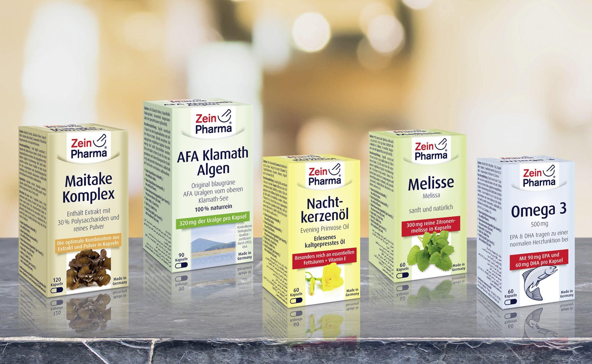 Verpackungsdesign Malvega - Referenz: Zein Pharma