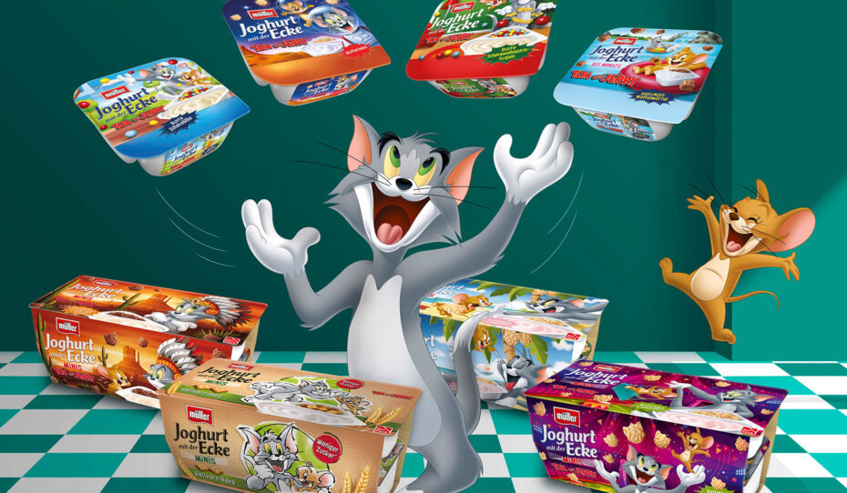 Verpackungsdesign Malvega - Müller Joghurt mit der Ecke: Tom und Jerry